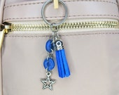 With Limited Elastic Heart, Blue Button Keychain with Star Charm and Blue Tassel