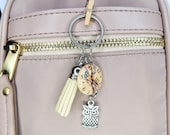 With Limited Elastic Heart, Clock Owl Button Keychain with Owl Charm and Cream Tassel With Heart Elastic
