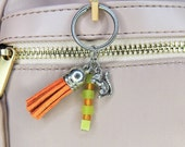 With Limited Elastic Heart, Squirrel Charm Keychain with Green/Orange Beads and Burnt Orange Tassel