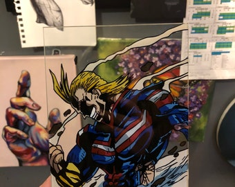 5x7 All Might glass painting