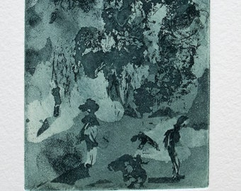 Garden party / Puutarhajuhlat (green) - original intaglio print