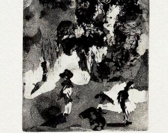 Garden party / Puutarhajuhlat (black) - original intaglio print
