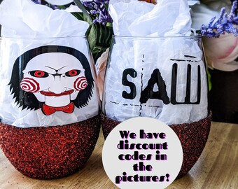 mothers day Saw Glitter Wine Glass- horror personalized gift customize movie collection cute cheap gifts gift for her horror movie
