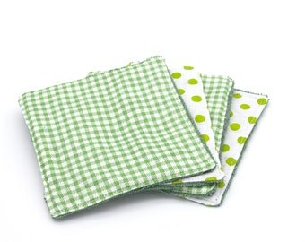 Lot of 4 organic bamboo sponge wipes 2 green patterns