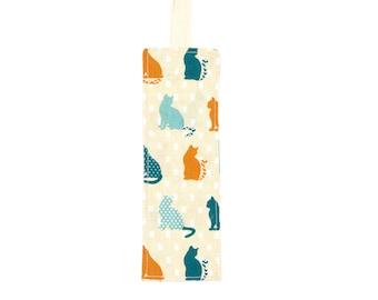 Orange and blue cat patterned shirt bookmark