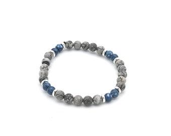 Bracelet perles jade bleu et jade mat gris 6 mm, idée cadeau homme / femme