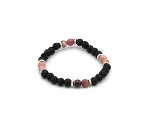 Lava stone and rhodonite beads 6 mm bracelet