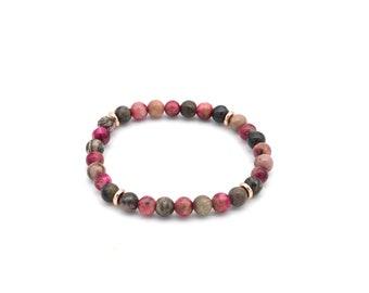 Bracelet beads of jade rosalia and rhodonite 6 mm, gift idea man / woman