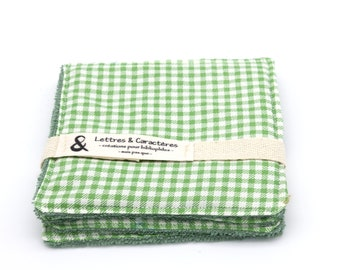 Lot of 4 organic bamboo sponge wipes pattern green tiles