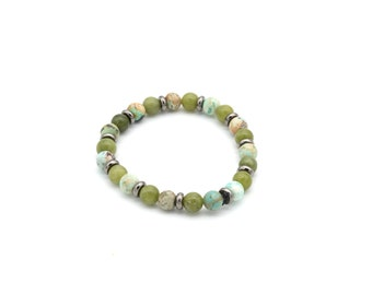 6mm turquoise pearl and Malaysian jade bracelet, men's/woman gift idea