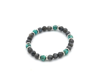 Jaspe beaded bracelet and 6 mm African turquoise, men's/woman gift idea