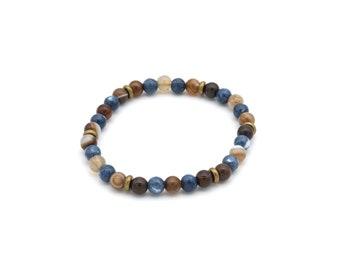 Bracelet beads pearls blue jade and agate Botswana 6 mm, gift idea man / woman