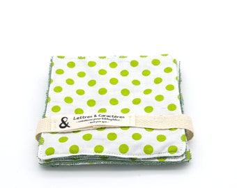 Lot of 4 organic bamboo sponge wipes patterned peas