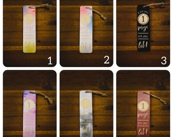 Wooden bookmark and vinyl pattern in bed