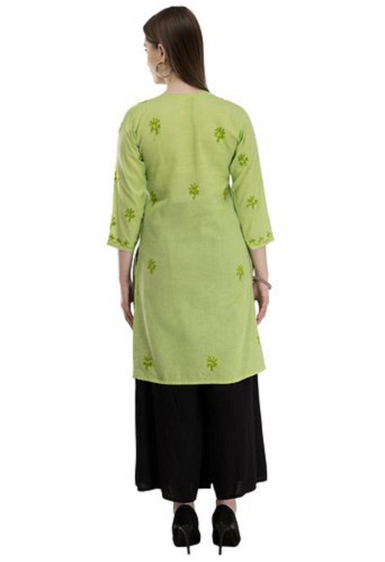 Green kurta with black Plazzo Women Chikan Embroidery Pure Cotton Straight Kurta with black Plazzo