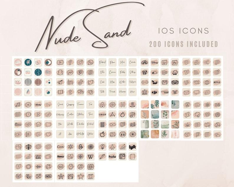 200 iOS 14 App Icons iPhone iOS Theme Nude Aesthetic for Home Screen iOS14 Widget iOS14 Icon Pack Neutral Theme Icon Bundle