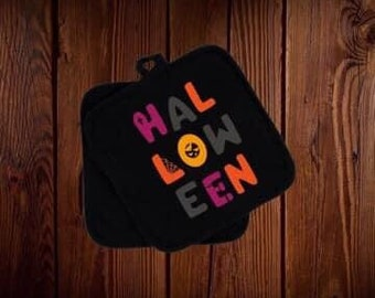 Colorful Halloween pot holder