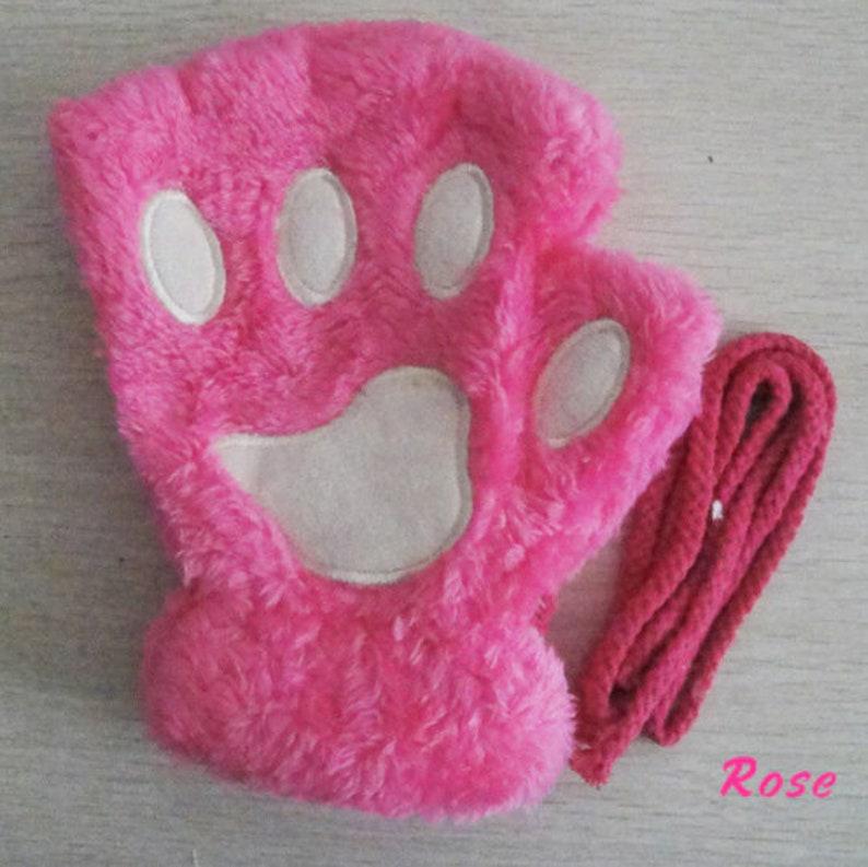Cute Cat Pattern Women Mitts Plush Gloves Short Finger Ladies GlovesT Warm Mittens Cat Paw Girl Costume Halloween Party Kawaii Cosplay