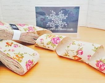 Beautiful rose print vintage hessian burlap jute floral ribbon craft scrapbooking journalling card making sewing crafting