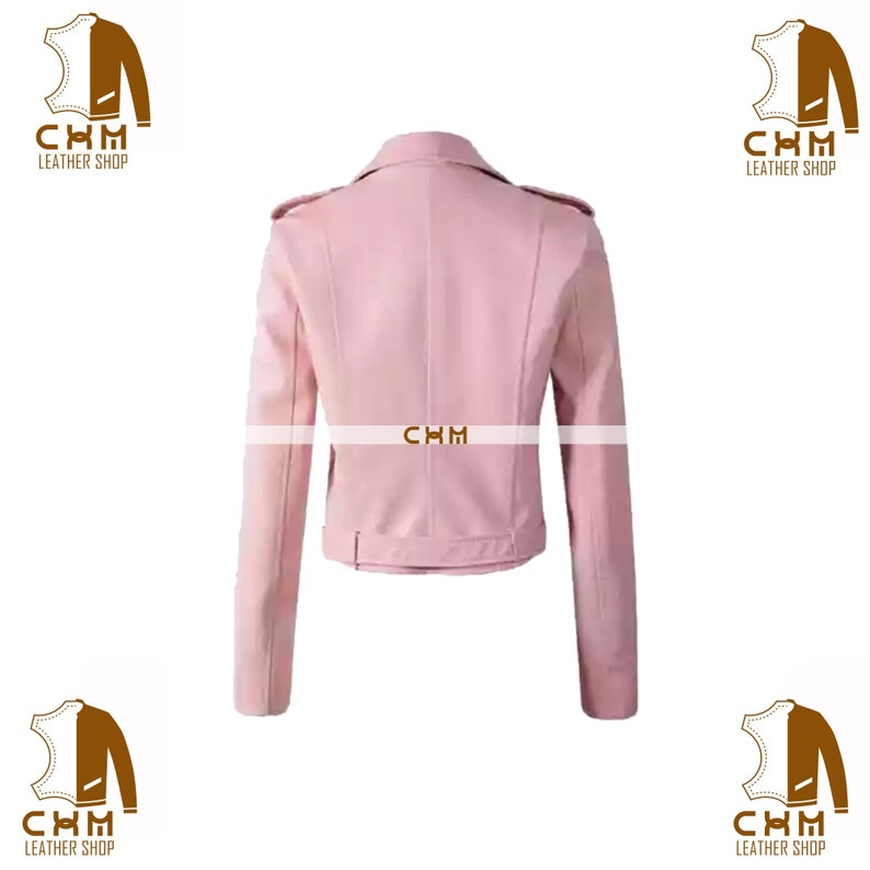 Women/'s premium cream pink leather jacket customisable in variety of leathers