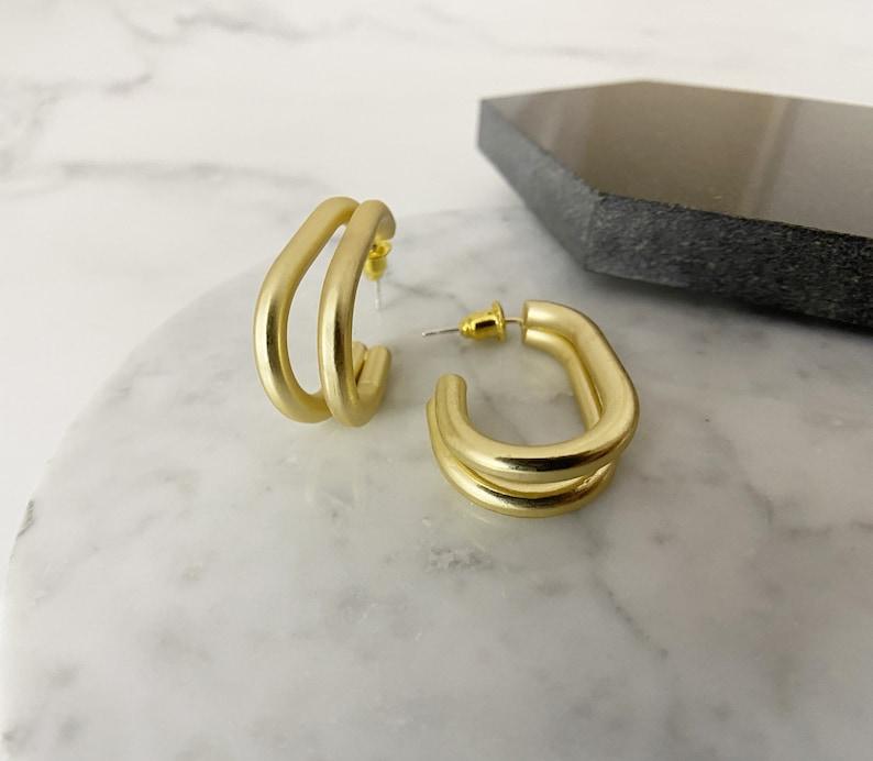 Open hoop Earrings 925 Sterling silver Double line Earrings gold for women Clip on Earrings