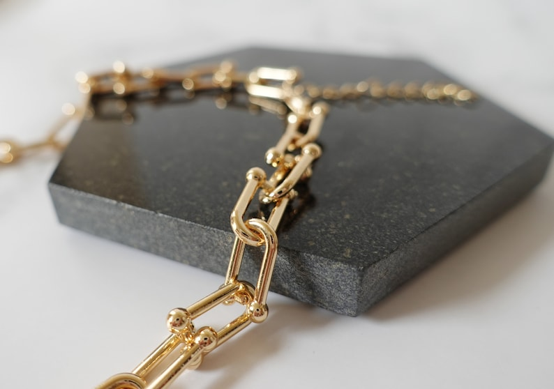Chunky Gold Chain Necklace Link necklace women Parker necklace Clip necklace Gold