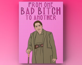 Aunt Lydia Handmaid's Tale 'Bad bitch' Greetings card perfect for him or her, Gilead Novelty Card