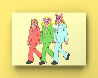Sister Sister Sister Postcard. Illustrated Girl Gang Postcard Perfect for collecting or Sending to Friends and family.