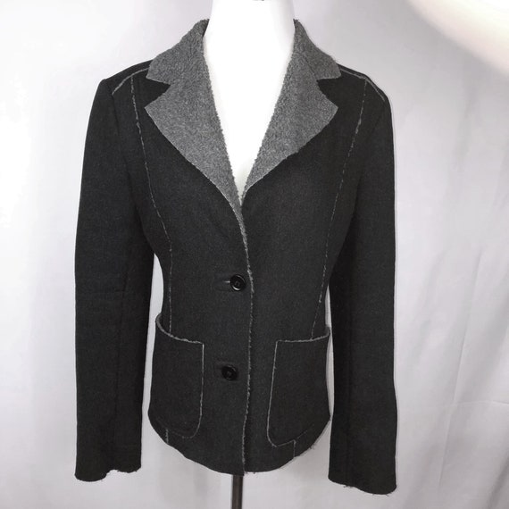 Vintage CHAIKEN Black + Gray Faux Fleece Trim Fitt