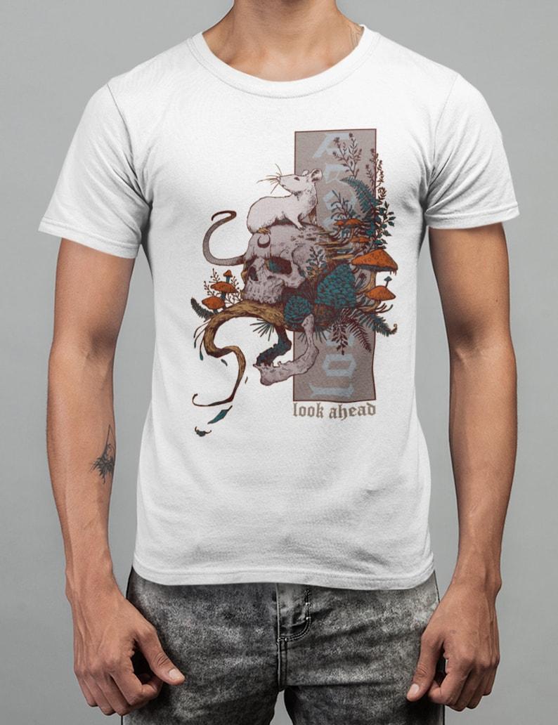 White Skull and Mouse T-Shirt  Gothic Art on T-Shirt  Black Gildan with Skull  Butcher/'s Branch Mushrooms