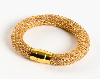 """Gold & Silver Bracelet, """"Squamata"""" Series,  magnetic clasp, two colors, Gift For Her"""