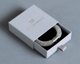 """Black & White Bracelet, """"Squamata"""" Series,  magnetic clasp, two colors, Gift For Her"""