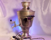 Vintage electric samovar.Russian tea ceremony.Metal soviet electric kettle.Water kettle.Made in USSR.