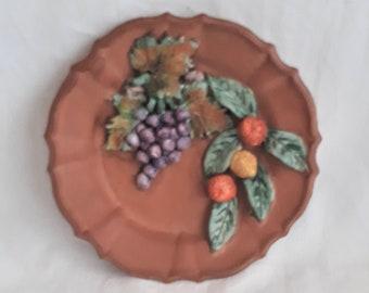 Vintage Southwestern Striped Terracotta Plates  Saucers  Decorative Plates Vintage Southwestern Decor Made in Peru Set of Three