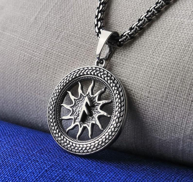 Ansuz Rune in Solar Crown Handmade Talisman Celtic Scandinavian Druid Jewelry. Nordic Sacred Protection Amulet from Elder Futhark
