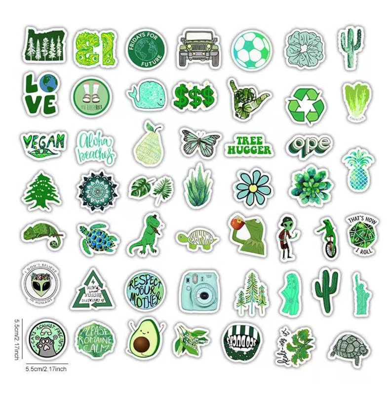 Car 50pcs Cute Green sticker bomb set phone Skateboards Mugs waterproof and durable for Tumbler Laptop project gift ideas Craft book