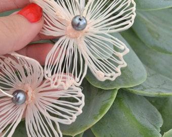 Gaia Floral Earrings Silverplated Sorbet