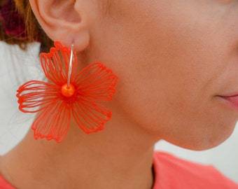 Gaia Floral Earrings Silverplated Red