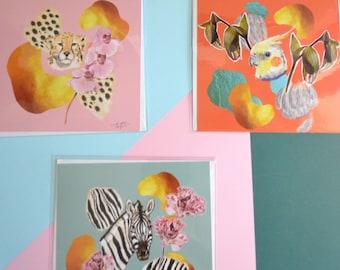 Trio of exotic animals square greeting cards