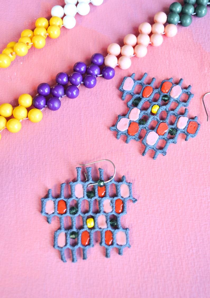 Flower Honeycomb beaded fabric earrings image 0