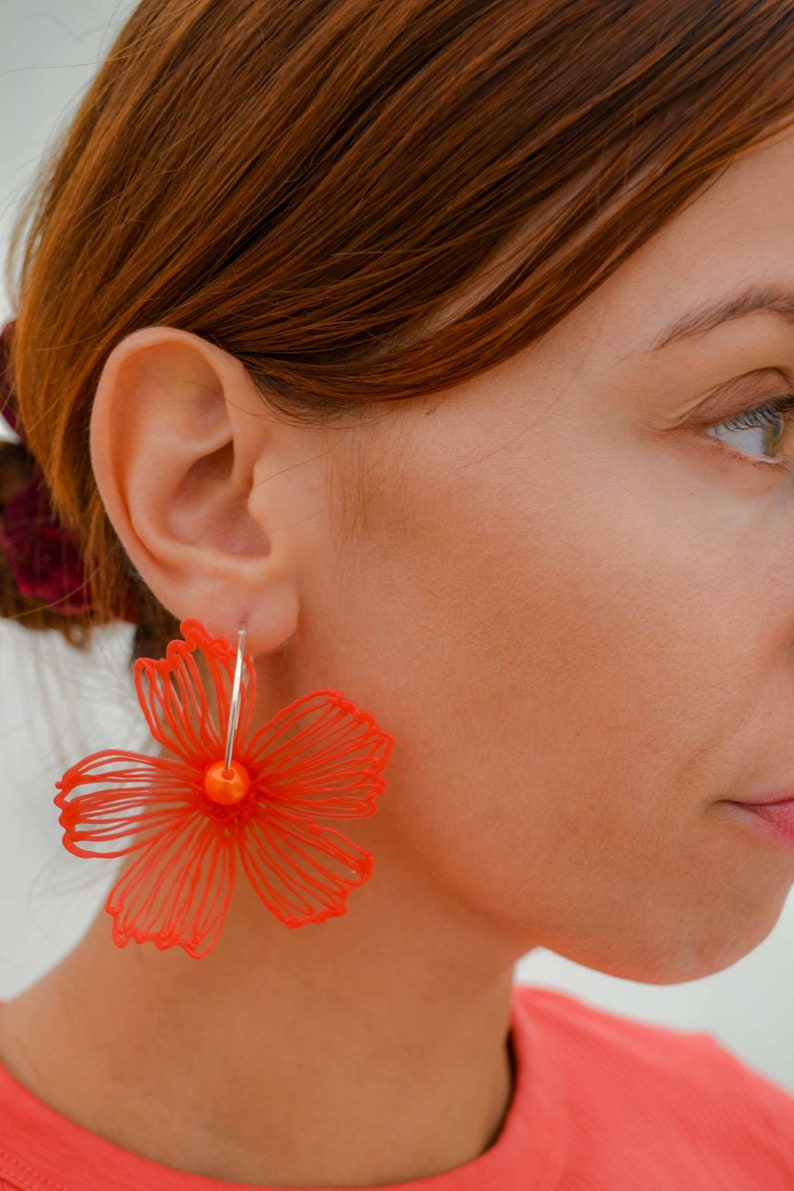 Gaia Floral Earrings Silverplated Red image 0