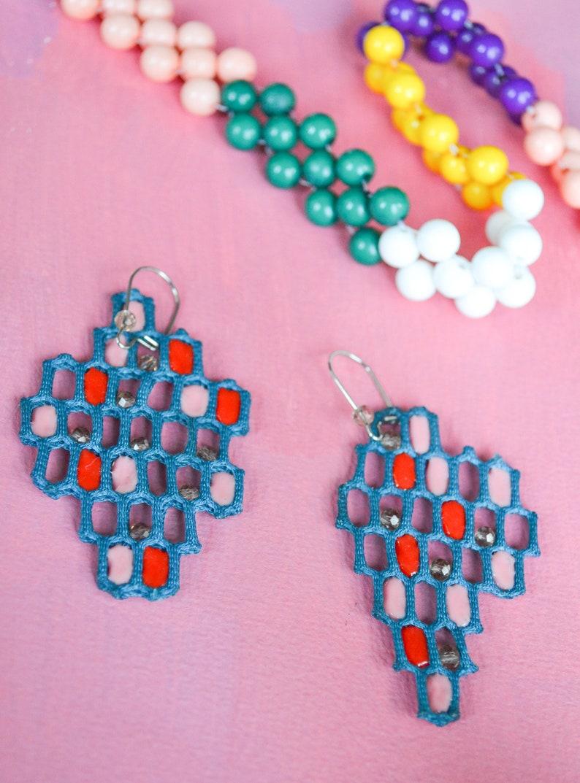 Honeycomb beaded asymmetric fabric earrings Teal