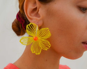 Gaia Floral Earrings Silverplated Yellow