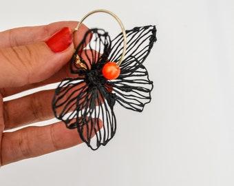 Gaia Floral Earrings Silverplated Black