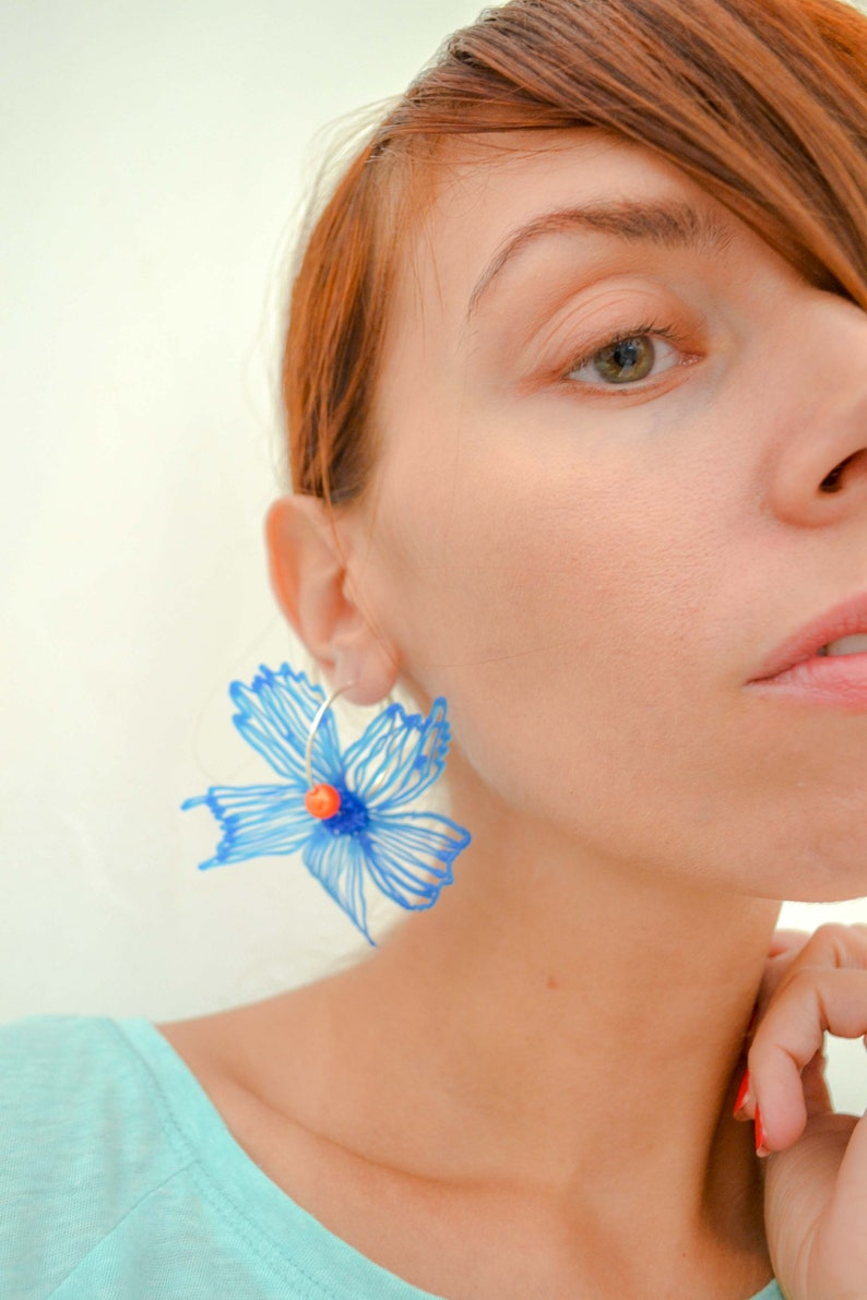 Gaia Floral Earrings Silverplated Blue image 0