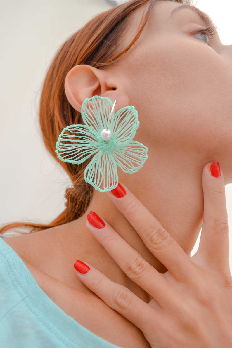 Gaia Floral Earrings Silverplated Turquoise White