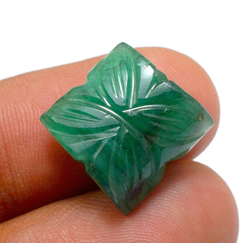 Carved Stone, Hand Made Carving   Good Quality 13.40 Carat Natural Emerald