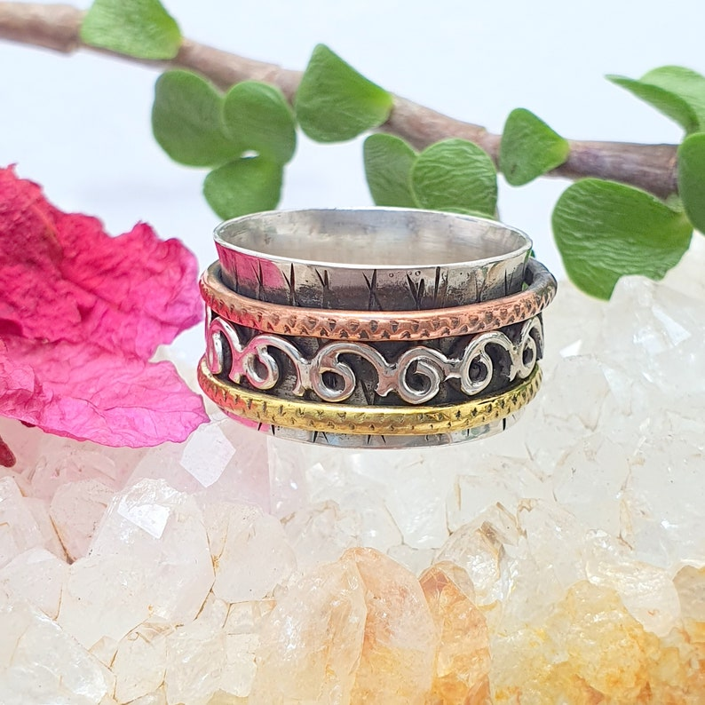 Three Tone Ring 925-Sterling Solid Silver Ring Thumb Ring One Tone Brass,One Tone Copper,With Silver Spinner Ring Spinner Beautiful Ring