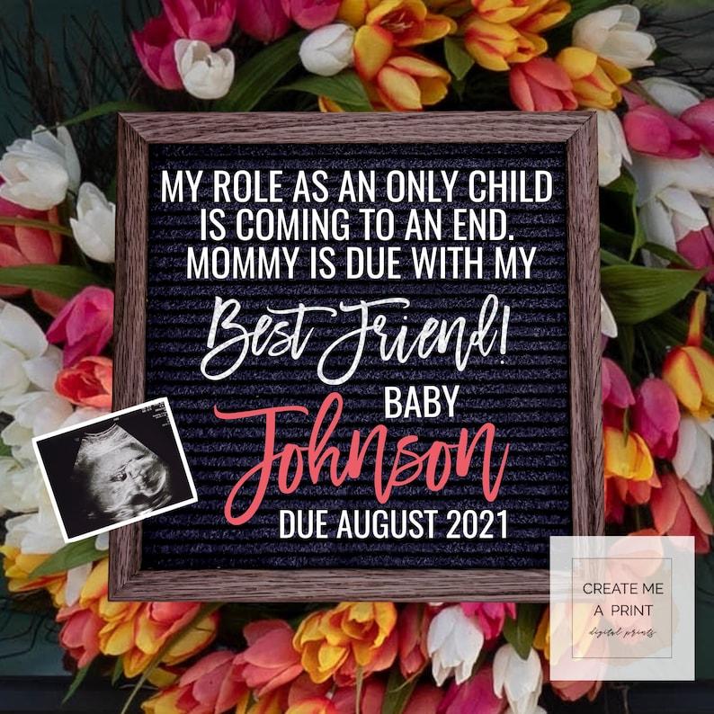 Instagram Pregnancy Reveal Editable Spring Pregnancy Announcement Colorful Digital Baby Announcement for Social Media Facebook You Edit
