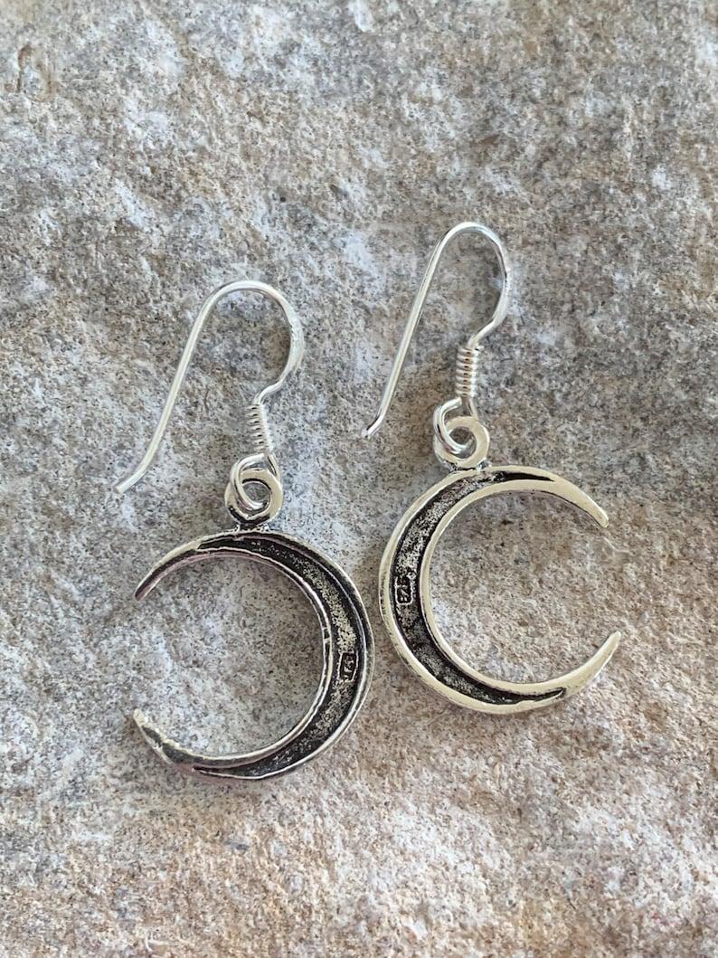 Sterling Silver Simplistic Crescent Moon Drop Earrings